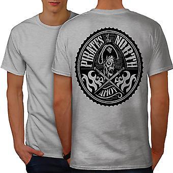 North Pirates Fashion Men GreyT-shirt Back | Wellcoda