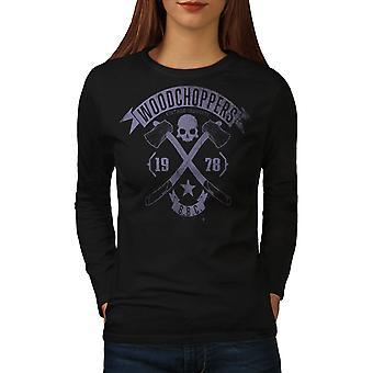 WoodBikerss Club Frauen BlackLong Sleeve T-shirt | Wellcoda