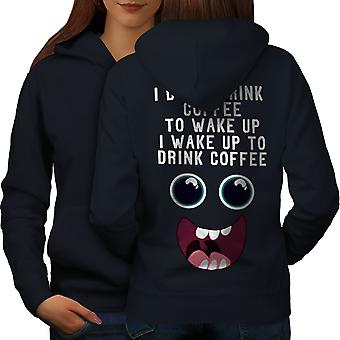 Drink Coffee Wake Up Women NavyHoodie Back | Wellcoda