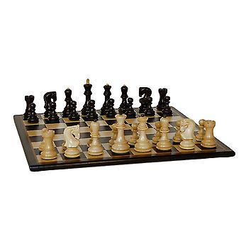 黒のロシア語チェスのこまセット黒バーズアイ メープル ボード