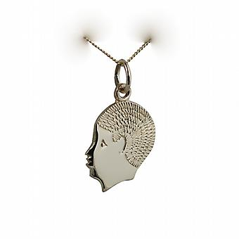 9ct Gold 17x14mm Boy's Head Pendant with a curb Chain 20 inches