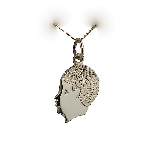 9ct Gold 17x14mm boys head with Curb chain