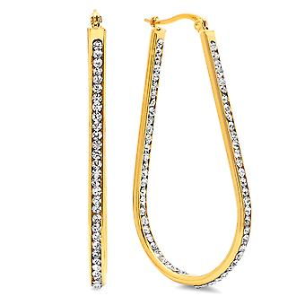 Ladies 18K Gold Plated Stainless Steel Simulated Diamond Hoop Earrings