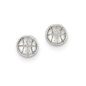 Sterling Silver Solid Polished Post Earrings Basketball Mini Children Earrings - 1.2 Grams