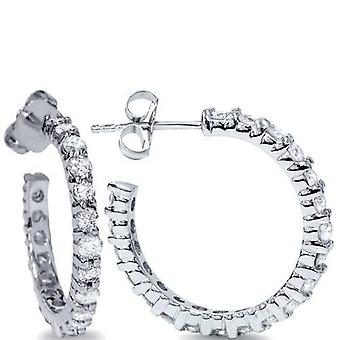 1 1/10ct Diamond Hoops 14K White Gold