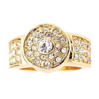 Iced Out Bling Hip Hop Designer Ring - BUTTON CZ gold