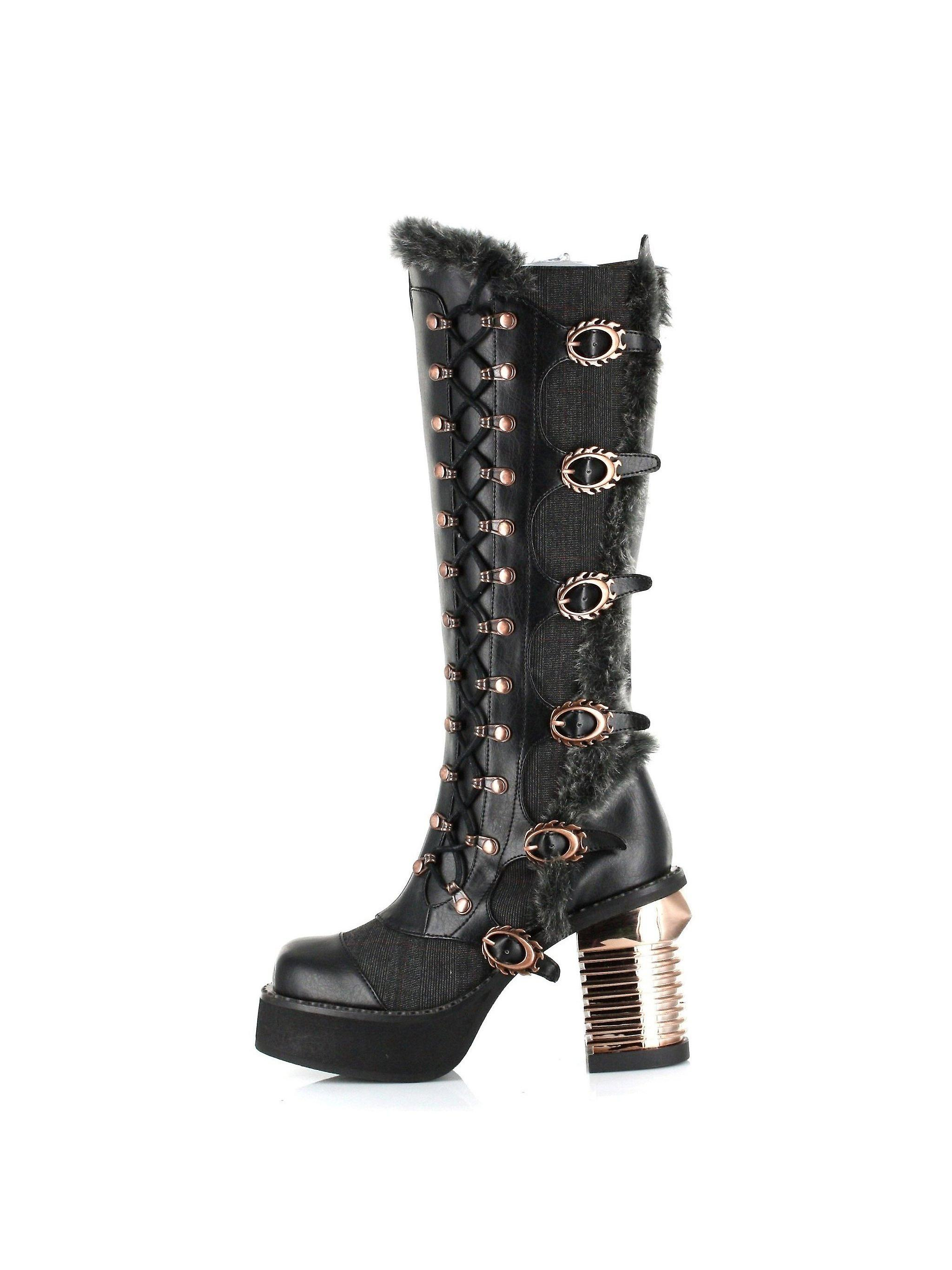 Hades Shoes H-Langdon Knee high platform boots with oxford tuxedo fabric