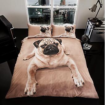 3D Animal Pug Dog Premium Duvet Cover Bedding Set single Double King