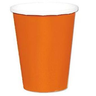 Оранжевый бумажный стаканчик 9»
