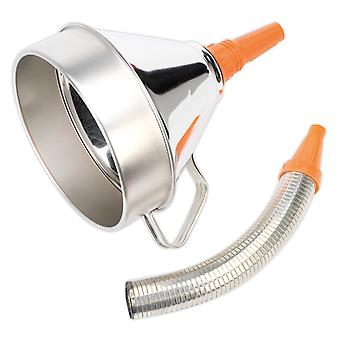 Sealey Fm20F Funnel Metal With Flexible Spout And Filter 200Mm