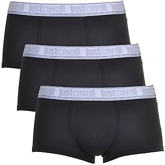 Just Cavalli Cotton Stretch 3-Pack Boxer Trunk, Black, Small
