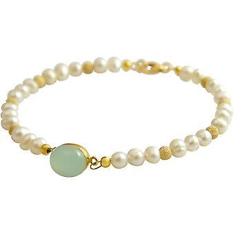 Gemshine - dames - armband - parels - goud vergulde - Chalcedoon - zee groen - 18 cm