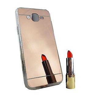 Samsung Galaxy J7 2015 Mobile Shell mirror spiegel soft case beschermhoes rose goud