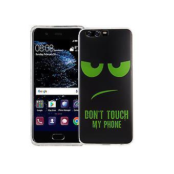Non toccate il mio telefono mobile caso Huawei P10 vetro di protezione del serbatoio del silicone