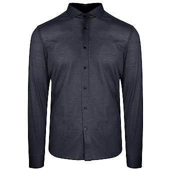 CC Collection Corneliani Corneliani Navy Long Sleeve Spread Collar Shirt