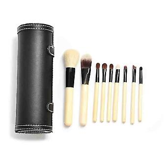 9 Make Up  Brushes Cup Set - Goat Hair /Pony Hair Aluminium Ferrule Natural Wood Handle Leather Cup