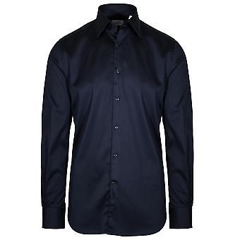 CC Collection Corneliani Corneliani Navy Blue Long Sleeve Shirt