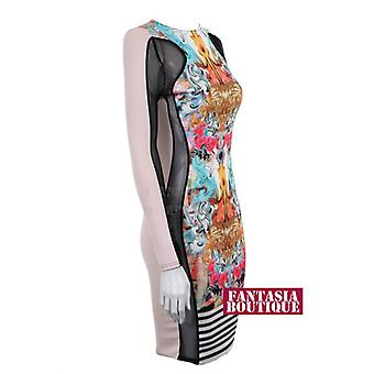 Damer Funky ut Stripe Side Mesh sett inn slankende effekt kvinners Bodycon kjole