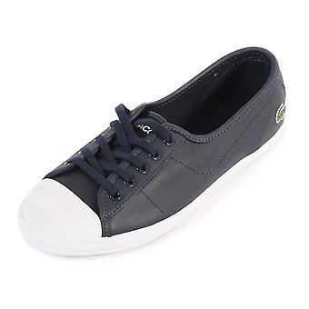 Lacoste Women's Ziane BL 1 Leather Lace Up Trainer Navy