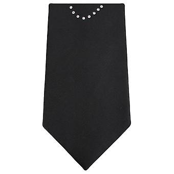 Knightsbridge Neckwear Diamante Love Heart Tie - Black/Silver/Red