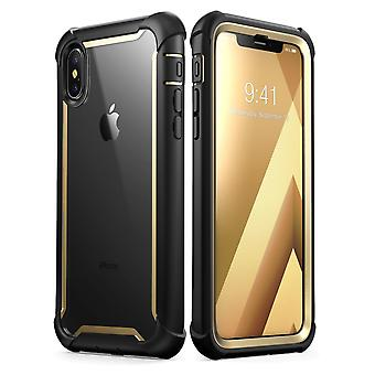 i-Blason iPhone XS Case, iPhone X Case Ares Full-Body Rugged Clear Bumper Cover with Built-in Screen Protector, Gold