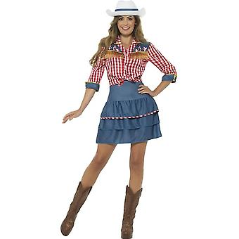 Rodeo Doll Costume, Blue, with Skirt, Shirt & Hat