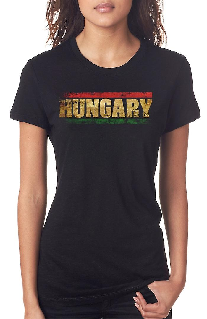 Hungary Hungarian Flag - Words Ladies T Shirt
