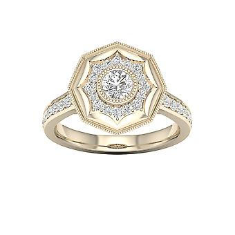 DE COUER 3/4Ct TDW Diamond 14k Yellow Gold Bypass Engagement Ring (I-J, I2)