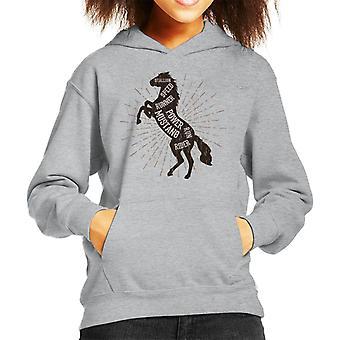 Horse Mustang Description Kid's Hooded Sweatshirt