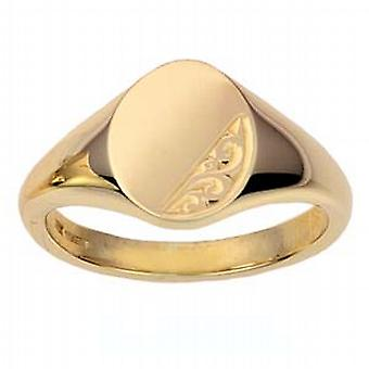 9ct Gold 13x10mm solid hand engraved oval Signet Ring Size I