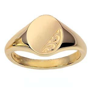 9ct yellow gold 13x10mm hand engraved oval Signet Ring