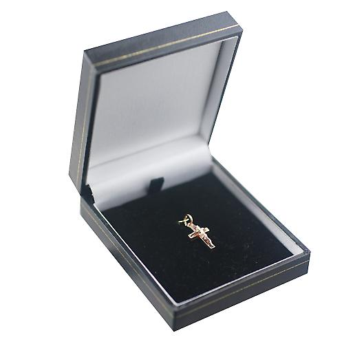 9ct Red Gold 17x10mm solid block Crucifix Cross