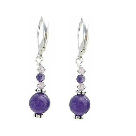 Matt Multifaceted Amethyst 10mm & 4mm Glass Bead AB Crystals Earrings