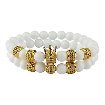 Bracelets-Smooth beads and Crown, White