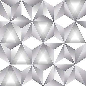 Geometric 3D Triangle Pattern White Grey Modern Metallic Wallpaper Arthouse