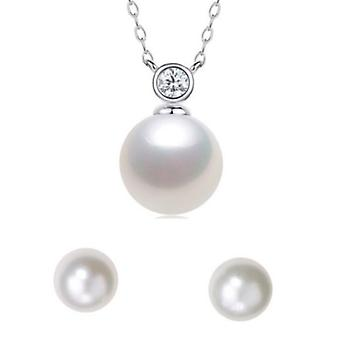 Lunetta in argento Sterling 925 collana di perle con pietra e orecchini Set