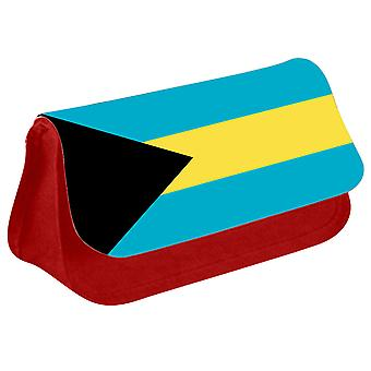 Bahamas Flag Printed Design Pencil Case for Stationary/Cosmetic - 0012 (Red) by i-Tronixs