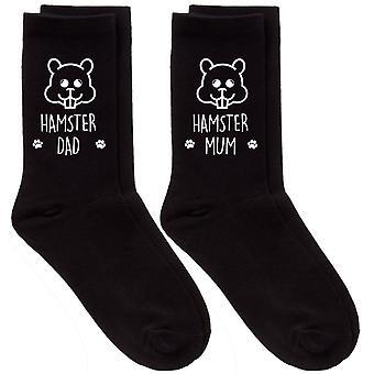 Couples Hamster Mum Dad Black Calf Sock Set
