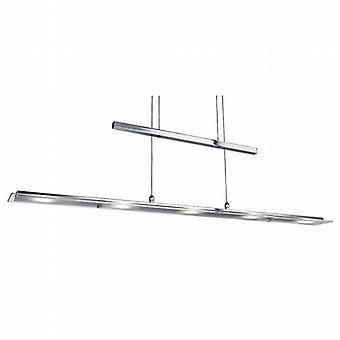 LED lampe moderne chromée conduit pendentif en verre givré clair