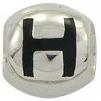 TOC BEADZ 925 Silver Initial H 9mm Slide-on Bead