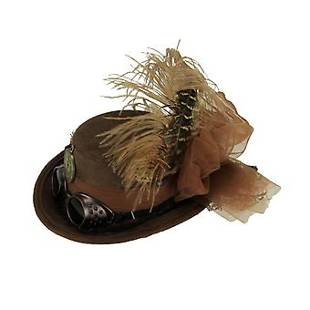 Brown Faux Suede Mini Feathered Steampunk Riding Hat Halloween Costume Accessory