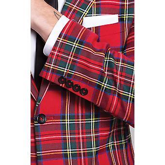 Dobell Mens Royal Stewart Tartan Suit Jacket Slim Fit Notch lapel