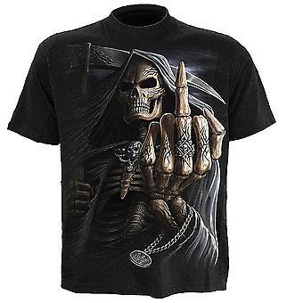 Spiraal-bot Finger-mens korte mouw t-shirt, zwart