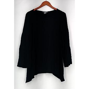 Kate & Mallory Double Tiered Long Sleeve Scoop Neckline Top Black A437869