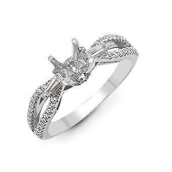Jewelco London Solid 18ct White Gold Pave Set G SI1 0.42ct Diamond Semi Set Mount Engagement Ring 6.5mm