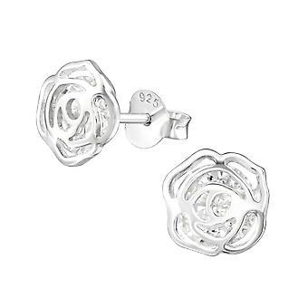 Rose - 925 Sterling Silver Cubic Zirconia Ear Studs - W39034X