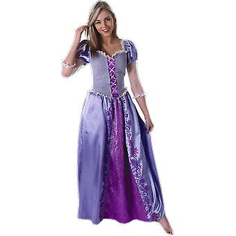 Womens Disney Rapunzel Costume Purple Fairy Tale Princess Fancy Dress