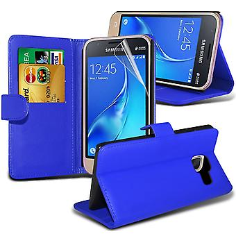 i-Tronixs Samsung Galaxy J5 2016   PU Leather Wallet Classic Flip Case + Screen Protector Guard -Blue