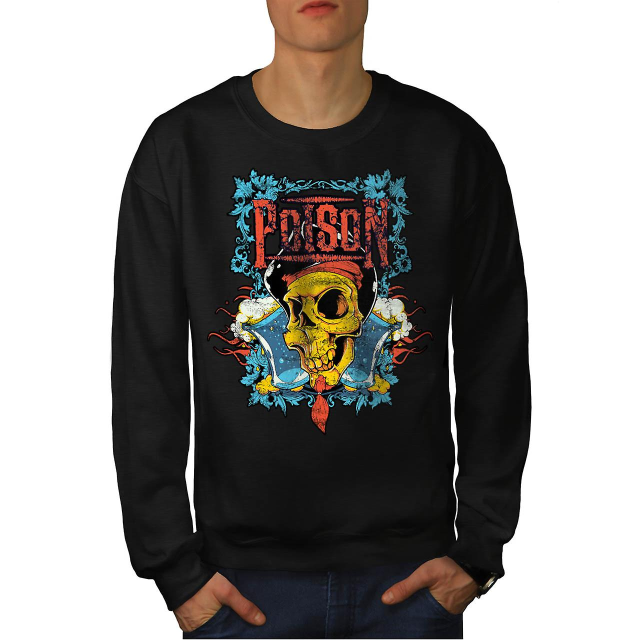Poison Pirate Skull Evil Monster Men Black Sweatshirt | Wellcoda