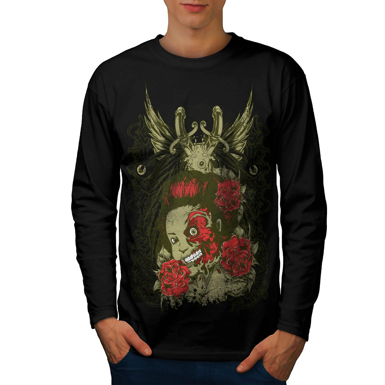 Dead Girl Rose Zombie Men Black Long Sleeve T-shirt | Wellcoda